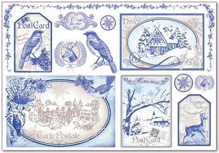 Бумага рисовая для декупажа Картинки в ретро-синем цвете