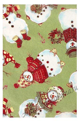 Бумага тишью снеговики