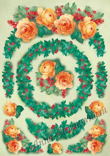 Большая карта для декупажа Розы к рождеству