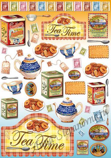 Большая карта для декупажа Чай