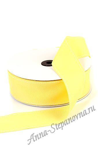 Лента репсовая простроченная желтая