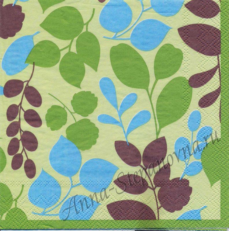Салфетка для декупажа «Узоры из листьев»