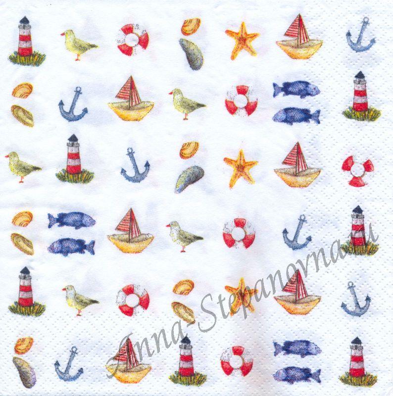 Салфетка для декупажа «Море. Коллаж.»