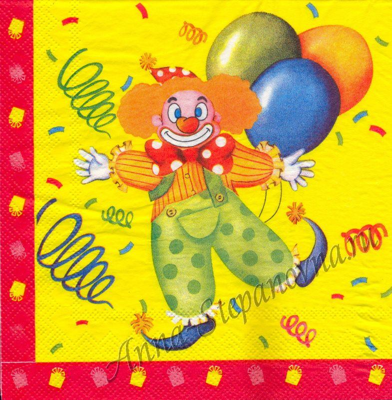 Салфетка для декупажа «Клоун»