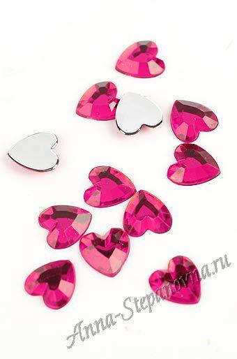 Стразы «Сердечки малиновые»