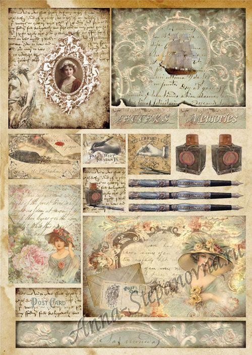 Большая карта для декупажа Письма о любви