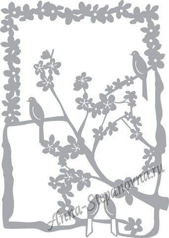 Обратный трафарет «Три птички»