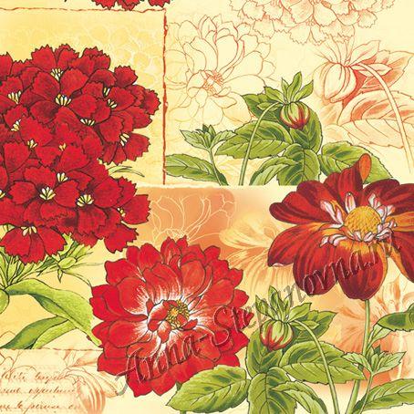 Салфетка для декупажа «Красные цветы» №386