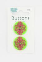 Пуговицы «Damask Buttons II»»Green & Fucsia»