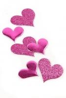 3D наклейки спанч сердечки розовые