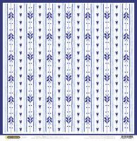 Бумага для скрапбукинга «Гжель. Полосочки на белом»