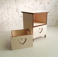 Шкатулка «Комод с сердечками» 2 ящика