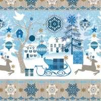 Салфетка «Голубой, зимний узор» №595