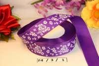 Лента репсовая «Цветы» фиолетовая