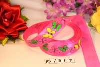 Лента атласная «Бабочки» розовая