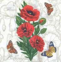 Салфетка «Бабочки и маки»