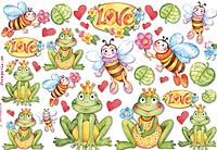 Бумага рисовая для декупажа «Лягушки и пчёлы»