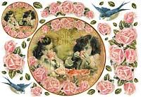 Бумага рисовая для декупажа «Чай и цветы»