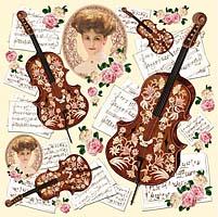 Салфетка рисовая для декупажа «Леди и скрипки»
