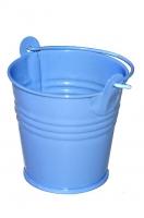 Декоративное металлическое ведерко голубое