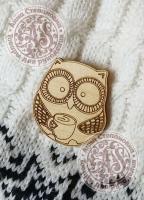 Заготовка «Совушка с кофе» значок