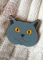Значок «Британский кот» деревянный