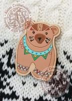 Значок «Мишка. Этно» деревянный