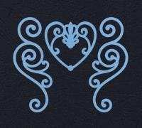 Набор «Завитки и сердце» голубые из фетра