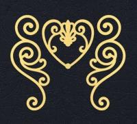 Набор «Завитки и сердце» желтые из фетра