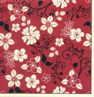 Салфетка «Цветочки на красном» для декупажа