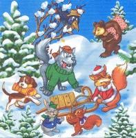 Салфетка «Зимние забавы» для декупажа