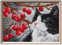 Набор для вышивания бисером «Кот и вишня»