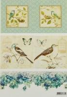 Декупажная карта «Птички на ветках»