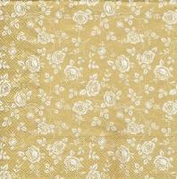 Салфетка для декупажа «Белые цветы на золоте»