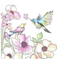 Салфетка для декупажа «Птички акварельные»