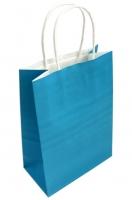 Пакет крафт с ручками голубой
