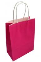 Пакет крафт с ручками ярко-розовый