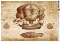 Декупажная карта Чертежи Леонардо