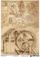 Декупажная карта Чертежи Леонардо 2
