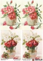 Декупажная карта Букет роз в вазе