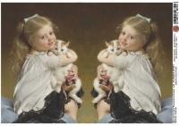 Декупажная карта Девочка с котенком