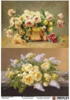 Декупажная карта Пышные букеты роз