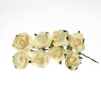 Розы из бумаги светло-желтые