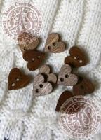 Пуговицы деревянные Сердце-1 коричневые