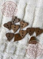 Пуговицы деревянные Сердце-2 коричневые
