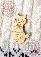 Заготовка для значка «Кошка с ракушкой»