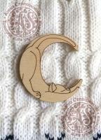 Заготовка деревянного значка «Кот на луне»
