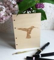Деревянная обложка «Колибри» для блокнота