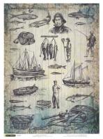 Карта для декупажа «Рыбная ловля»