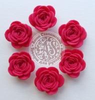 Цветы из фетра. Розы темно-розовые